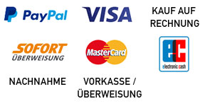 Visa / Mastercard, PayPal, SOFORT Überweisung, Lastschrift, Vorkasse / Überweisung, Rechnung, Nachnahme